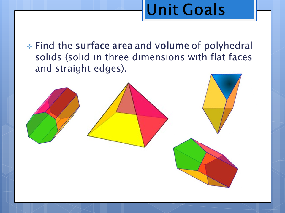 Perimeter, area and volume
